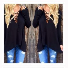 Very flattering long sleeve hooded top! Black long sleeve hooded sexy too with laces in the fat. Perfect match with distressed Jean, booties, and this top, perfect outfit!!  100% polyester. Tops