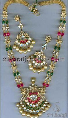Jewellery Designs: Two Strings Uncut Beads Haram