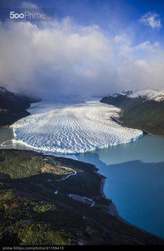 Aerial view of glacier in rural landscape, El Calafate, Patagonia, Argentina | 500px Prime