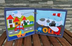 "Welcome to the magical world of ""Sewn with love by Katina""! Quiet book for a boy. Dimensions: 22cm.x22cm. Number of pages: 6 + cover Suitable for children 1 years old and above. Page 1 - 2 : Space. Page 3 - 4 :Petrol station and car. Page 5 : Travel. Page 6 : Airport. Used materials: Cotton fabrics, felt, buttons,buckles, zipper and Velcro. The pages made from cotton fabric lined with fusible interfacing for stiffness. The quiet book is made to order and it takes approximately 10 days to..."
