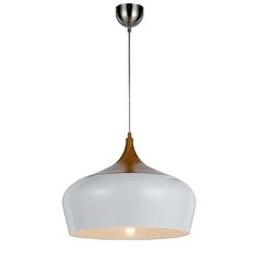 Contemporary 'Polk' pendant light in gloss white metal and oak timber in large