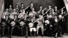 Banjo band...and a woman rocking a mandobass.