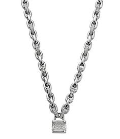 Michael Kors Brilliance Pave Links and Padlock Toggle Statement Necklace #Dillards