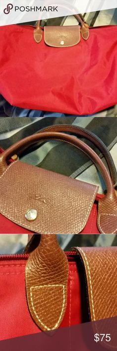 Longchamp Le Pliage Top Handle Nylon (Pre-owned) Size M No Stain inside. Only small scratches by used at the bottom corners which is not stand out (as seen in pictures) No major damages Longchamp Bags Totes