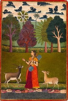 """Todi Ragini: A Lady with a Vina Attracts Two Deers,"" Folio from a dispersed Ragamala (Garland of Melodies).   Date:     ca. 1700.      India, Aurangabad. From the ""Divine Pleasures"" exhibition, Kronos Collection."