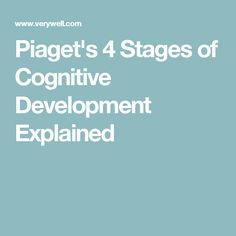 Psychologist Jean Piaget suggested that children go through four key stages of cognitive development. Learn more about his influential theory. Jean Piaget, Child Development, Psychology, Stage, Teaching, Psicologia, Education, Onderwijs, Learning