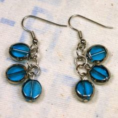 Cool Turquoise Glass and Silver Bead Earrings Unique #Handmade Jewelry by o2designs @Etsy @OnFireforHandmade @Etsy On Sale