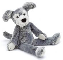This gorgeously soft, long limbed puppy is from the Puddle collection by Jellycat. Made from a soft short pile plush in several shades of Grey and white, he has a large black plush nose and white paw pads. Surface washable.