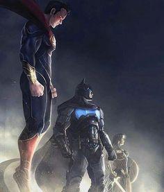 Superman, Batman, and Wonder Woman Dc Comics Heroes, Arte Dc Comics, Dc Comics Characters, Clark Kent, Man Of Steel, William Moulton Marston, Gotham City, Super Heroine, Superman Wallpaper