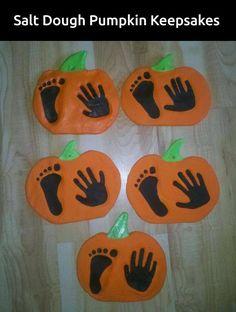 Salt Dough Pumpkin Handprint & Footprint Keepsake...these are the BEST Hand & Footprint Ideas!