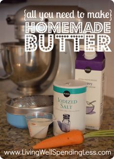 all the ingredients you need to make homemade butter in the kitchen-aid--this looks seriously SO easy to do!  #homemade #butter #recipe
