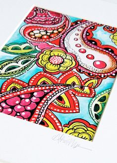 Paisley doodles art print by Alisa Burke Paisley Drawing, Paisley Doodle, Paisley Art, Paisley Design, Zentangle Drawings, Doodle Drawings, Doodle Art, Zentangles, Zen Doodle