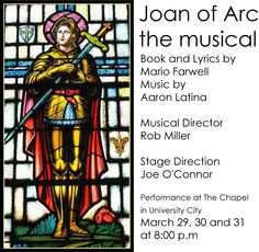 """Audition notice for """"Joan of Arc: The musical""""    Singers wanted for a concert a new musical """"Joan of Arc"""" by Mario Farwell and Aaron Latina.    The audition will take place on the UMSL Campus, Benton Hall 119, One University Blvd, St. Louis MO 63121.    The auditions are Saturday, February 16, 2013 from 12 noon to 4:00 p.m. and Monday, February 18, 2013 from 6:00 p.m. to 9 p.m. You may send a demo of your singing and resume to Mario at farwemar@aol.com prior to auditioning."""