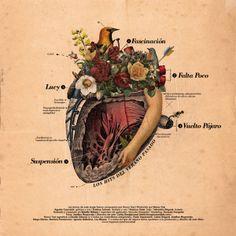 Collage + tratamiento de la imagen + composición + acompañamiento tipográfico.
