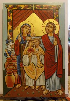"""Original hand-painted byzantine icon, new coptic style on canvas and piece of wood following the rules of byzantine art. """" Marriage at Cana """". What you see on the pictures is what you get. 