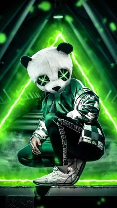 Panda Neon Green wallpaper by AmazingWalls - - Free on ZEDGE™ Cartoon Wallpaper, New Wallpaper Hd, Joker Iphone Wallpaper, Hacker Wallpaper, Cute Panda Wallpaper, Hipster Wallpaper, Graffiti Wallpaper, Wallpaper Gratis, Wallpaper Backgrounds