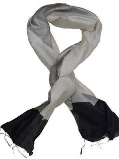 Scarf, made from raw silk. Colours: silver, light grey, dark silver and black. Cotton Scarf, Silk Scarves, Scarf Styles, Cambodia, Hand Weaving, Silver, Handmade, Hand Knitting, Hand Made