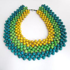 Ethnic Mexican statement necklace yellow blue by JustineJustine, $95.00