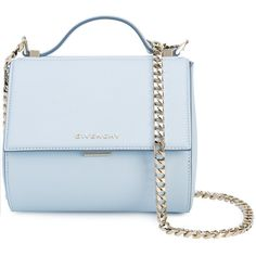 Givenchy leather shoulder bag ($2,090) ❤ liked on Polyvore featuring bags, handbags, shoulder bags, blue, genuine leather handbags, leather handbags, shoulder handbags, blue purse and chain shoulder bag
