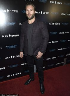Red carpet: Jai Courtney cut a dapper figure in a smart-casual ensemble at ArcLight Cinema...