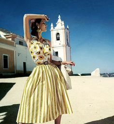 1952 Cherry Nelms in yellow and black print halter top and yellow striped skirt by Brigance