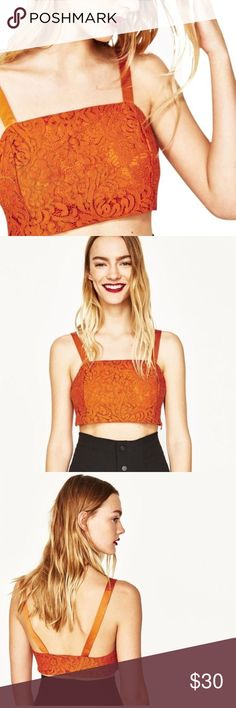 """Zara Floral Lace Crop Bralet Top No holes, stains or snags. Has side zipper closure. 100% polyester. 12.5"""" length: 14"""" Pit to pit: no trades. Zara Tops Crop Tops"""