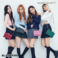 K pop girl group Black Pink is the latest group to endorse the fashion accessory brand Saint Scott. The girls look amazing for their campaign photos. Black Pink is a South Korean girl group formed in 2016 by YG Entertainment. Kim Jennie, Jenny Kim, Kpop Girl Groups, Kpop Girls, Mode Kpop, Designer Handbag Brands, Designer Purses, Black Pink Kpop, Kim Jisoo