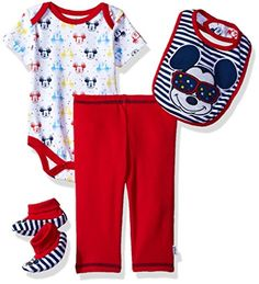 Disney Baby Boys' Mickey Mouse 4-Piece Bodysuit, Pant, Bib, and Booties Set, Pompeian Red, 0/3 Baby Boy Clothes