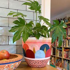 La imagen puede contener: planta e interior Painted Plant Pots, Painted Flower Pots, Diy Arts And Crafts, Diy Crafts, Decoration Plante, Pot Plante, Diy Planters, Crafty Projects, Plant Decor