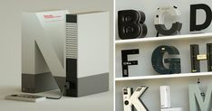 Taking inspiration from a wide variety of electronic brands, designer Vinicius Araújo designed this alphabet of Helvetica letterforms, each modeled after a brand's namesake product. Colossal Art, Retro Fashion, Beats, Locker Storage, Alphabet, Nintendo, Letter, Gaming, Popular