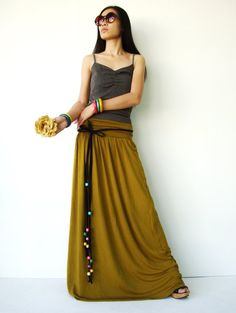 No. 107 Senf Rayon Spandex Foldover Long Skirt von JoozieCotton, $43.00