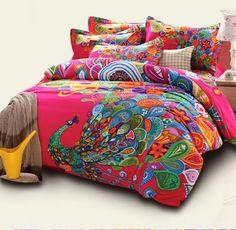 Peacock Print Bedding Sets Bohemian Duvet Covers Queen Boho Style Bedding Set #FADFAY #Western