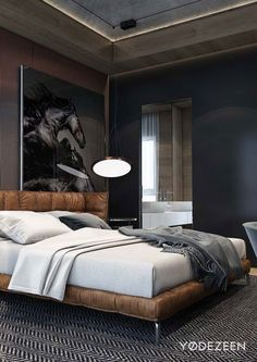 Mens Bedrooms. Masculine Bedroom Stylish bedroom for you  Feel the wilderness straight from your