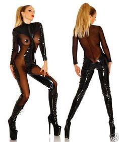 Womens Wet Pvc Leather Black Party Costume Overall Catsuit Clubwear Jumpsuit