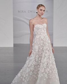 """Mira Zwillinger on Instagram: """"Limka Gown /SS22 Floral rich strapless gown with an all over 3D elements."""" Wedding Attire, Wedding Dresses, Strapless Gown, Gowns, Floral, Instagram, Fashion, Bride Dresses, Vestidos"""