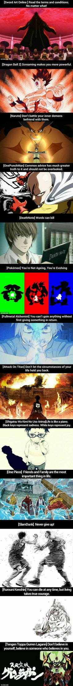 What Anime has Taught Me, text, funny, Anime characters, crossover, Sword Art Online, Dragonball Z, Naruto, One Punch Man, Death Note, Pokémon, Fullmetal Alchemist, Attack on Titan, Shigatsu wa Kimi no Uso, Your Lie in April, One Piece, Slam Dunk, Rurouni Kenshin, Tengen Toppa Gurren Lagann; Anime
