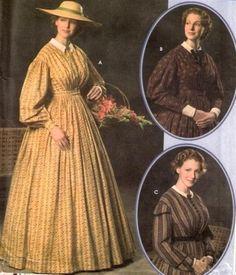 Martha Washington sewing Costume Pattern   Simplicity 4551 Civil War Day Camp Work Dress SEWING PATTERN