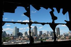 Downtown from silo Broken Window, Canada Travel, Quebec, Abandoned, New York Skyline, Wellness, Urban, Canning, City