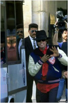 Michael Jackson with WB varsity jacket.