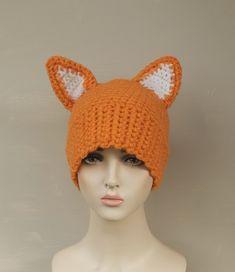 Red Fox Hat, Crochet Beanie with Ears, Woodland Animal Hat, Adult size, Teen size, Realistic Fox Ears, Orange Winter Hat, Florfanka
