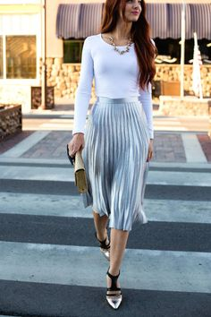 Bright Silver Accordion Pleat High Rise Midi Skirt
