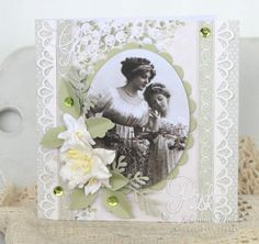 A soft green Easter card, the Easter Greetings paper collection and image from Grandma's Attic
