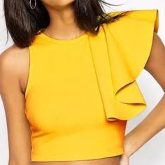 HP 4/13 Flutter crop top Flutter crop top with back zipper. Trendy and chic. New in package Tops
