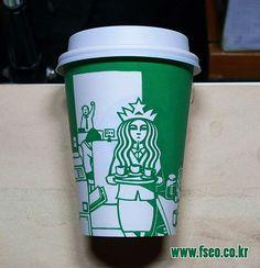 """Illustrator doodles on Starbucks cups to turn Mermaid into various characters"" Bored Panda Logo Starbucks, Starbucks Cup Art, Coffee Cup Design, Coffee Art, Coffee Cups, Coffee Illustration, Funny Illustration, Doodles, Pop Art"