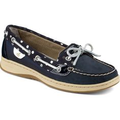 Sperry Top-Sider Angelfish Foil Dot Slip-On Boat Shoe Boat Shoes Outfit, Blue Boat Shoes, Navy Blue Shoes, Sperry Boat Shoes, Leather Boat Shoes, Sperry Top Sider Shoes, Lace Up Shoes, Cute Shoes, Me Too Shoes