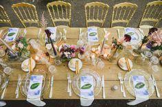 colorful woodland wedding table