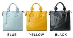 blue / yellow / black leather convertible crossbody shoulder handbag bag for women