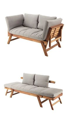 Garden sun lounger and sofa in one! relax 3 seater wooden garden bench with cushion maisons du monde garden bench made of wood or other materials Diy Sofa, Sofa Bed, Wood Furniture, Furniture Design, Outdoor Furniture, Office Furniture, Sofa Design, Wooden Garden Benches, Garden Seating