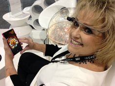 Me relaxing in DAQRI's booth by their awesome AR planetary exhibit!