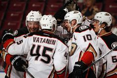 Cam Fowler #4 of the Anaheim Ducks celebrates his goal with teammates after scoring against the Florida Panthers during the second period
